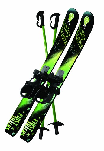 Lucky Bums Kids Beginner Snow Skis and Poles (GreenBlack 70-cm)