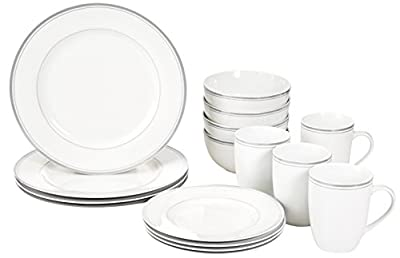 AmazonBasics 16-Piece Cafe Stripe Dinnerware Set, Service for 4