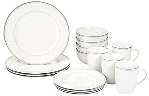 AmazonBasics 16-Piece Cafe Stripe Dinnerware Set, Service for 4, Grey