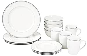 AmazonBasics 16-Piece Cafe Stripe Dinnerware Set, Service for 4 - Grey