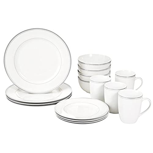 AmazonBasics 16-Piece Cafe Stripe Dinnerware Set Service for 4 - Grey  sc 1 st  Amazon.com & Microwave Safe Dinnerware: Amazon.com