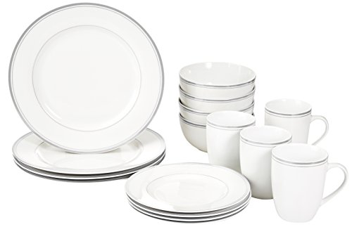 AmazonBasics 16-Piece Cafe Stripe Kitchen Dinnerware Set, Plates, Bowls, Mugs, Service for 4, Grey ()
