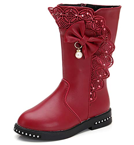 DADAWEN Girl's Waterproof Lace Bowknot Side Zipper Fur Lined Tall Winter Boots (Toddler/Little Kid/Big Kid) Dark Red US Size 9 M Toddler