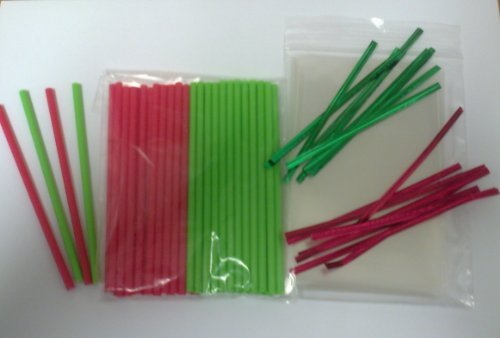 Carlton Toilet - 50 x 114mm (4.5) Red & Green Christmas Cake Pop Plastic Lollipop Kit Included Cello Bags & Twist Ties by Carlton Paper Sticks