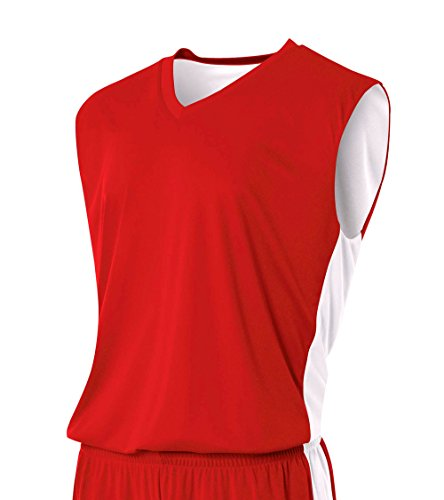 A4 Mens Reversible Moisture Management Muscle Shirt, Medium, Scarlet/White (Best Red Basketball Jersey)