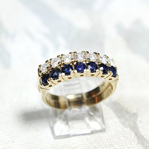 66c470f8b6706 Amazon.com: 14kt Yellow GOld Diamond and Sapphire Stackable Rings ...