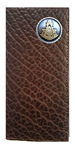 Chocolate Brown USA American Master IN Long Buffalo MADE Masonic Wallet Past THE Checkbook Hide Custom Proudly Bqw0Ux8