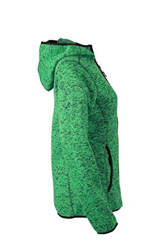 James & Nicholson - Forro polar de punto con capucha para mujer verde - Green-Melange/Black