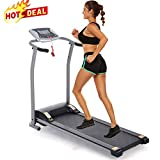 Folding Treadmill Electric Motorized Power Walking Jogging Running Exercise Fitness Machine Trainer Equipment for Home Gym Office Space Saver Easy Assembly
