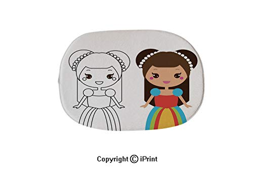 (Oval Shaped Rug Pink Mat for Kids Room Soft Rugs for Bathroom Entrance Doormat,Coloring Page with Cute Princess Character in Kawaii Style Drawing Kids Game Printable)