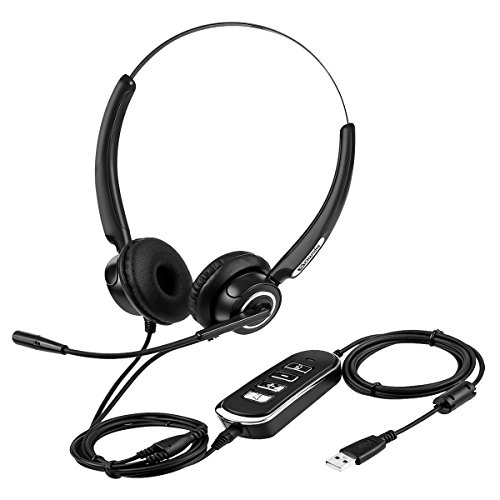 (PC Headset, SAWAKE USB/3.5mm Computer Headset with Microphone Noise Cancelling Stereo Wired Headphones for Skype, Webinar, Phone, Call Center)