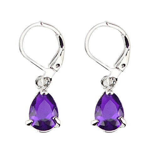 - Paymenow Clearance Women Girls Bridal Unique Cut Crystal Rhinestone Pierced Wedding Teardrop Drop Dangle Earrings Eardrop Ear Clip (Purple B)