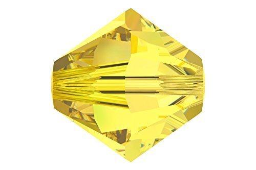 Swarovski Crystal 5328 4mm XILION Citrine (Yellow) Bicones - 48 Pack