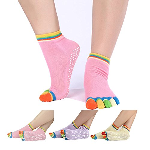 Women rainbow Yoga Toe Socks 3 Pack