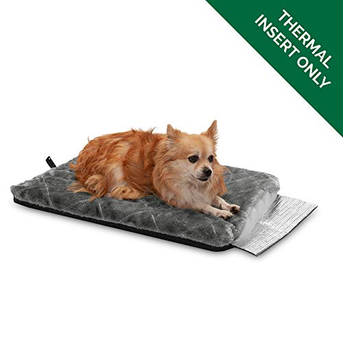 Furhaven Pet Dog Bed Heating Pad | ThermaPup Reflective Insulated Thermal Self-Warming Pet Bed Mat Pet Mat for Dogs & Cats, Silver, Small