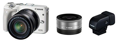 Canon ミラーレス一眼カメラ EOS M3 ダブルレンズEVFキット(ホワイト) EF-M18-55mm F3.5-5.6 IS STM EF-M22mm F2 STM 付属 EOSM3WH-WLEVFK