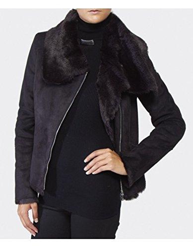 Armani Jeans Short Shearling Jacket 8 BLACK