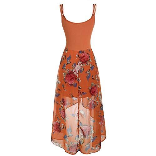 (Pongfunsy Women's Dresses, Women 2019 Print Dress Ladies Sexy Plus Size Sleeveless Split Casual Beach Dress (XXXXL, Orange))