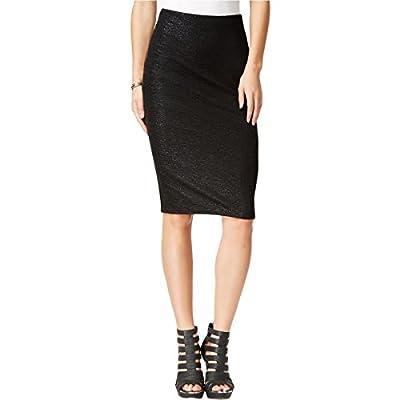 Bar III Womens Textured Metallic Pencil Skirt