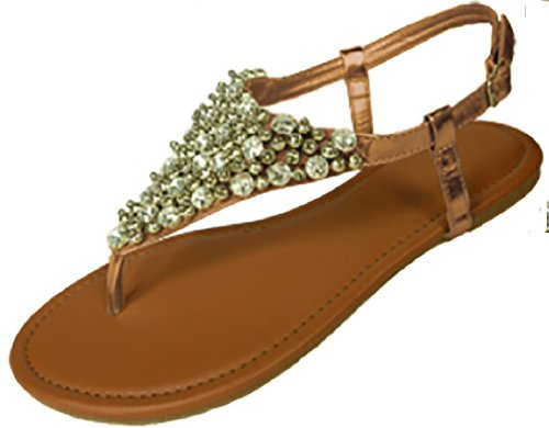 Womens Metallic & Faux Leather Gladiator Sandals Flat Shoes W/Beads & Rhinestones (11, Bronze 6349)