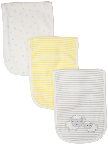 Gerber Baby Girls 3 Pack Terry Burp Cloth, Lil' Lamb, One Size Absorbent Underwear
