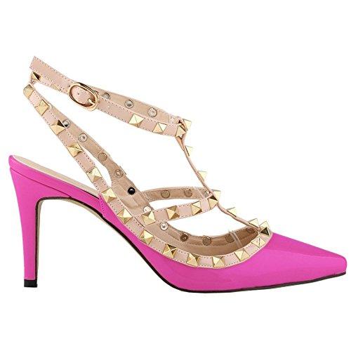 Arc-en-ciel zapatos de la hebilla de la tachonadas del dedo del pie en punta sandalias de tacón alto púrpura