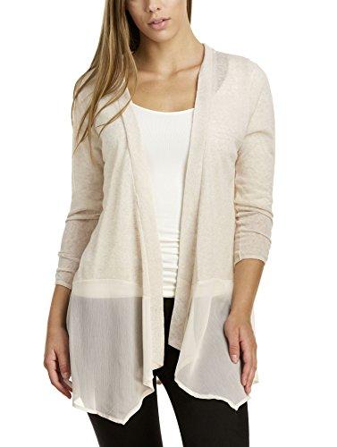 August Silk Women's 3/4 Sleeve Ribbon Back Cardigan, Sugar Cookie, Large (3/4 Sleeve Silk Sweater)