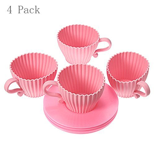 Mosuch Silicone Molds Liners for Cupcakes Ideal Little Girl Princess Parties Pink Teacups Bakeware for Baking Muffins