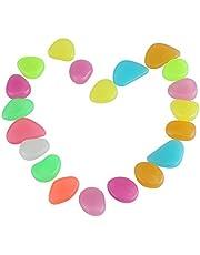 Eboxer Colorful Luminous Stones Glow in The Dark for Aquarium Fish Tank Gravel Decorations Garden or Yard 20 Pcs