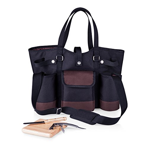 (LEGACY - a Picnic Time Brand Wine Country Tote with Cheese Service and Corkscrew, Black )