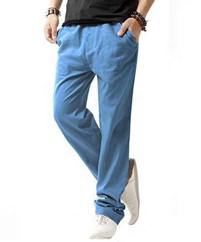 SIR7 Men's Linen Casual Lightweight Drawstrintg Elastic Waist Summer Beach Pants Denim Blue 3L