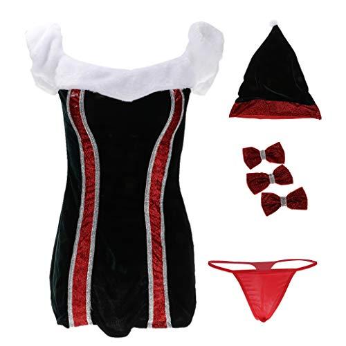 Homyl Ensemble de Dguisement Costume de Santa pour Femme Sexy Costume de Pre No?l Costume de Fte Nouvelle An - Rouge et Blanc