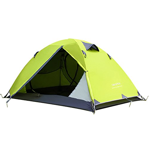 Skysper Camping Tent, 2 Person Backpacking Tent Dome Tent Double Layer Waterproof Aluminum Rod Lightweight with Carry Bags