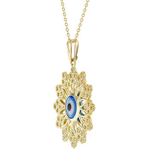 18k gold plated blue greek evil eye protection nazar medal pendant home aloadofball Image collections