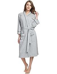 6f57ab006b Womens Cotton Robe Soft Kimono Spa Knit Bathrobe Lightweight Long