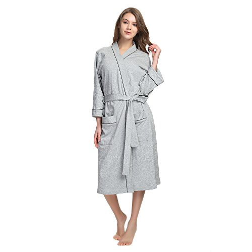 M&M Mymoon Womens Cotton Robe Soft Breathable Kimono Robes Knit Bathrobe Loungewear Short Sleepwear (Grey Mel, L)