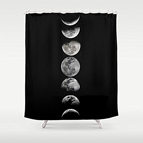 Crystal Emotion Phases of The Moon Pattern Waterproof Fabric Polyester Bathroom Shower Curtain