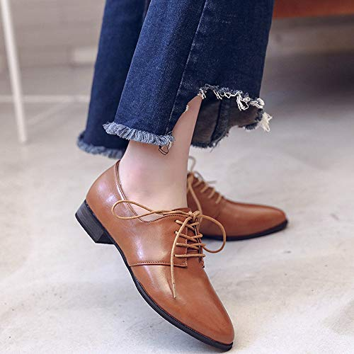Flat Casual Leather Solid Lace Up Ladies Women's Shoes Color Formal Brown Shoes Shoes Pointed Single Imitation FALAIDUO Business qvBAgx