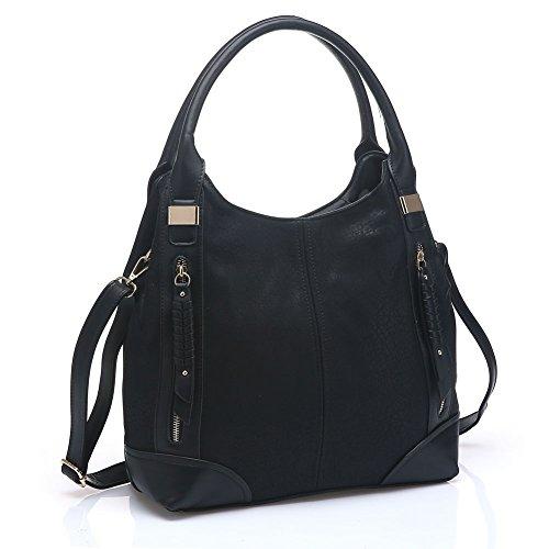 UTAKE Women Handbags Leather Handbags Shoulder Bag PU Leather Bag Large Tote Bag UT57 Black