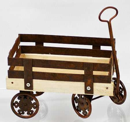 Antique Look Wooden and Rusted Tin Wagon with Scroll Design Wheels -