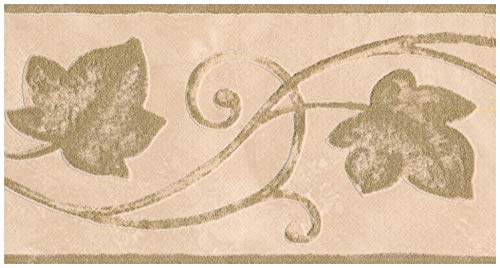 (Wall Border - Hazelnut Green Damask Vines and Leaves on Sepia Beige Wallpaper Border Retro Design, Prepasted Roll 15 ft. x 5 in.)