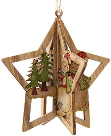 Noon-Sunshine decorative-plaques Creative Christmas Wooden Pendants Ornaments DIY Star Snowflake Christmas Party Decoration Xmas Tree,E