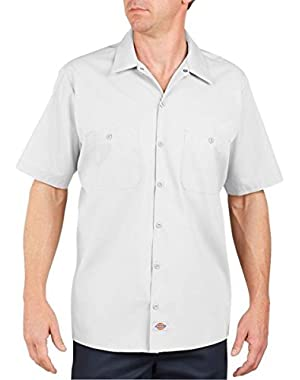 Men's Lined Short Sleeve Industrial Poplin Work Shirt, White, Medium