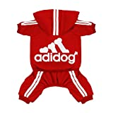 Scheppend Original Adidog Pet Clothes for Dog Cat Puppy Hoodies Coat Doggie Winter Sweatshirt Warm Sweater Dog Outfits, Red Extra Large