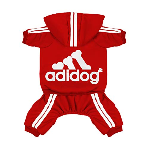 Scheppend Original Adidog Pet Clothes for Dog Cat Puppy Hoodies Coat Doggie Winter Sweatshirt Warm Sweater Dog Outfits, Red Medium ()
