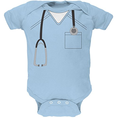 3-4 Month Old Halloween Costumes (Halloween Doctor Scrubs Costume Light Blue Soft Baby One Piece - 3-6 months)