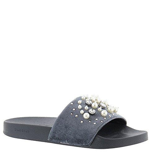 bebe Womens Fenix Slide Sandal Grey Velvet AmYqbPdgt