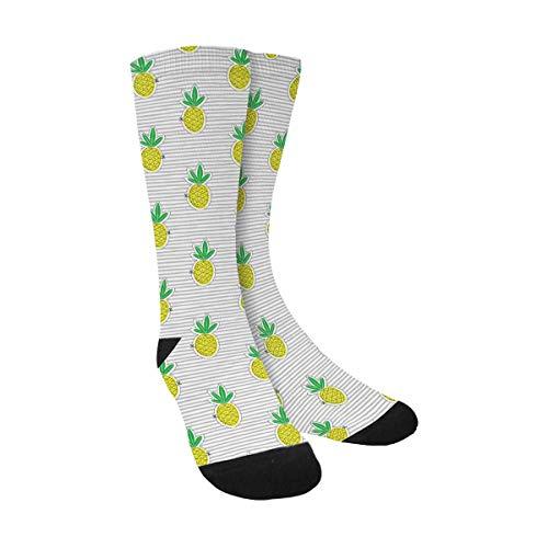InterestPrint Cute Pineapple Juicy Fruit on Stripes Crew Socks Casual Unisex Sublimated Socks for Men Women -