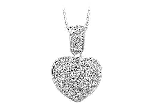 Birgie Diamants et Bijoux - Collier Coeur de Diamant-Femme- or Blanc 201P0005