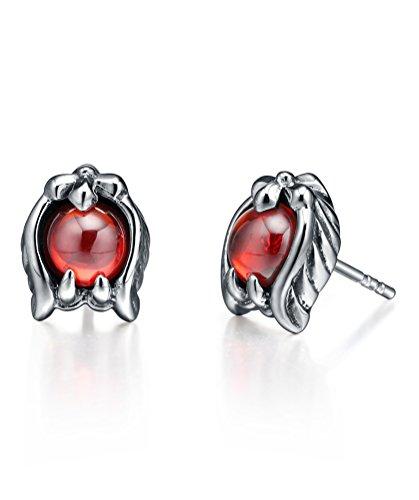 Boucles d'oreilles en acier inoxydable, aile avec rougecristal